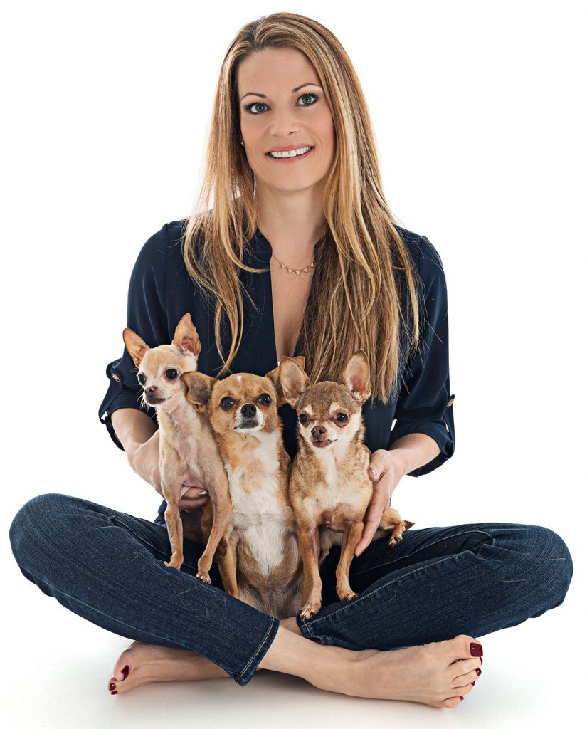 Dr. Bierens with 3 of her dogs