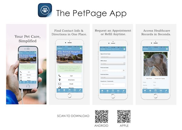 images of the Pet Page App on iPhones